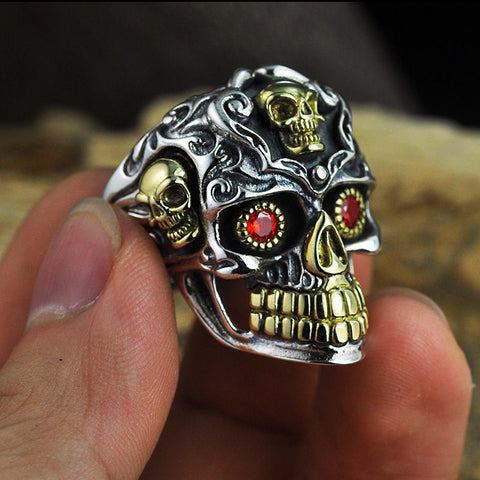 Hot New Classic Carving Skull Ring with Gold Accents and Red Eyes