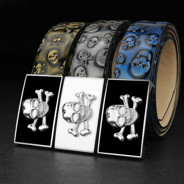 High Quality genuine leather designer belts - Skull & Bones Buckle