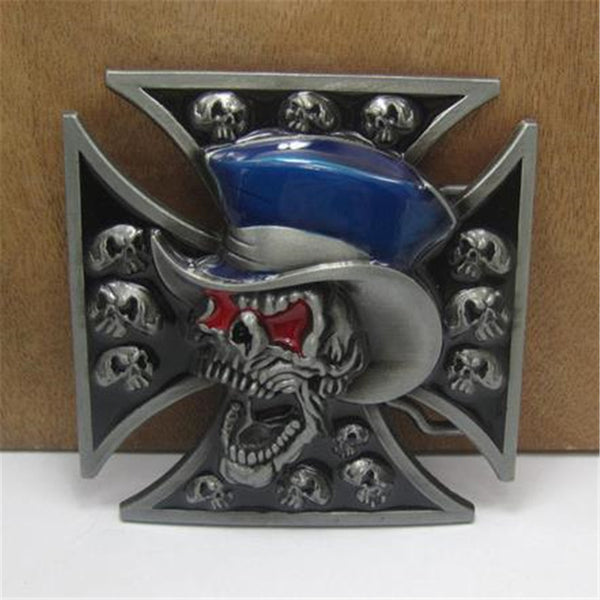 Iron Cross Skull & Hat Belt Buckle