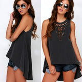 High Lo Hollowed V Blouse