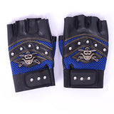 Leather Skeleton/Pirate Cross Swords with Rivets Half Finger Gloves