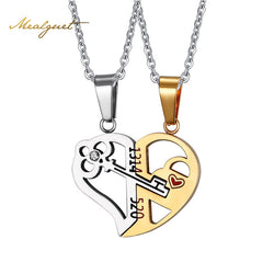 Heart Key Necklace Pendant Couple