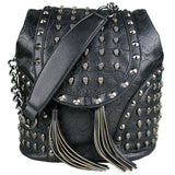 LEATHER SKULL PRINT HANDBAG