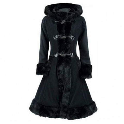 Black Victorian Flock Lined Women's Winter Overcoat - Hooded Vintage Slim Gothic Trench Coat