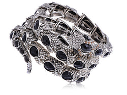 Coiling Serpent Bracelet With Rhinestone Accented Head
