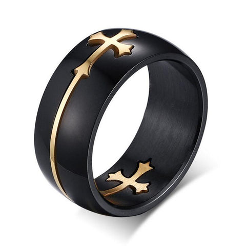 Black & Gold Two-Tone Holy Cross Signet Ring