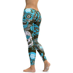 Skull Printed Leggings - Casual Sporting Fitness Trousers Plus Size