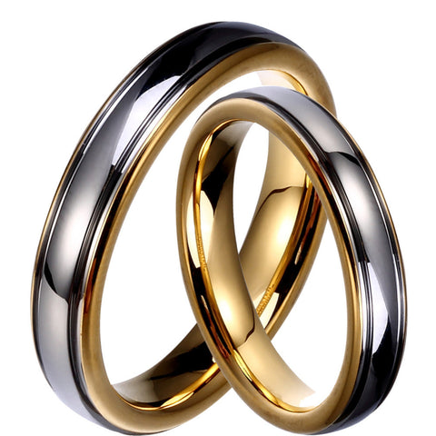 Silver Gold Duo Color Set Couples Tungsten Lovers Wedding Rings