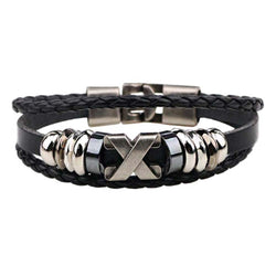 Excalibur Slimline Double Wrap Leather Rope Bracelet