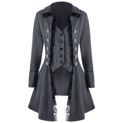 Casual Lace Trim Button Up Women's Trench Coat