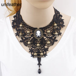 Black Hollow Out Lace Flower & Skulls Collar Bib Choker Necklace