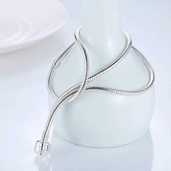 Silver Snake Chain Bead Necklace