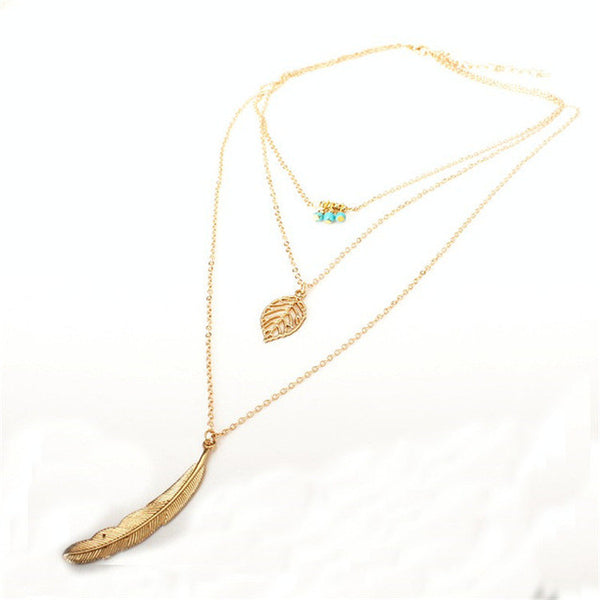 3-Layer Leaf Long Pendant Multi-layer Necklace
