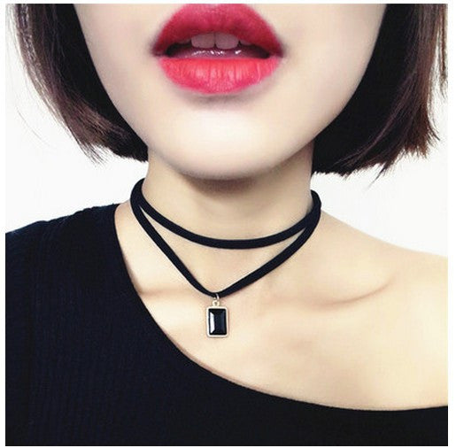 Square Rhinestone Pendant Choker Multi-Layer Necklace
