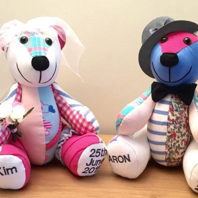Bride & Groom Signature Keepsakes-Mrs & Mr Signature Bear-Memory Bears By Vicky