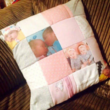 Memory Patchwork Cushion-Memory Photo Cushion-Memory Bears By Vicky