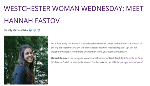 @EmmaWestchester interviews Go Dash Dot founder, Hannah Fastov, for their Westchester Woman Wednesday series