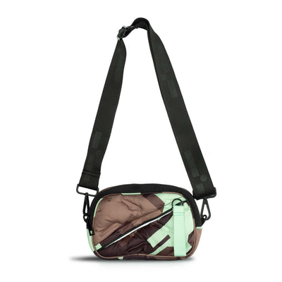 Crossbody bag that can also be worn as a waist pack in mint chip camouflage.