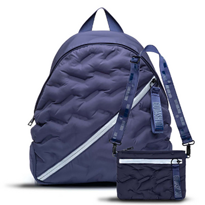 Navy Blue Round Puffy Backpack
