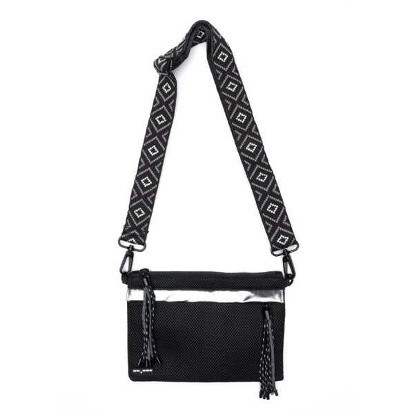 Go Dash Dot Crossbody Bag/Pouch/Clutch - Black/Silver - Front View