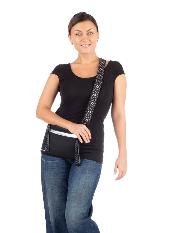 Go Dash Dot Crossbody Bag/Pouch/Clutch - Black/Silver - Essentially Perfect