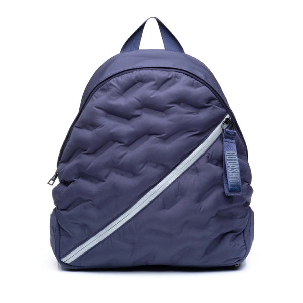 Puffy Navy Blue Round Backpack - Front View