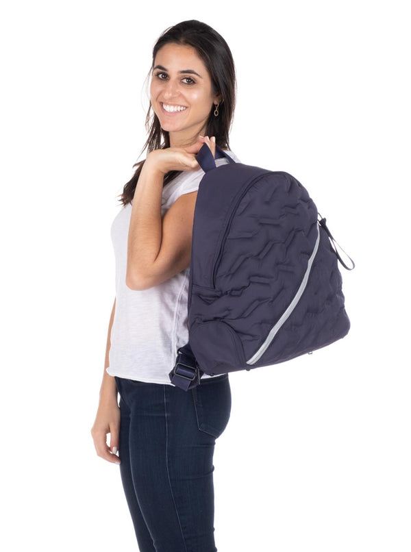 Puffy Navy Blue Round Backpack - Light but Functional
