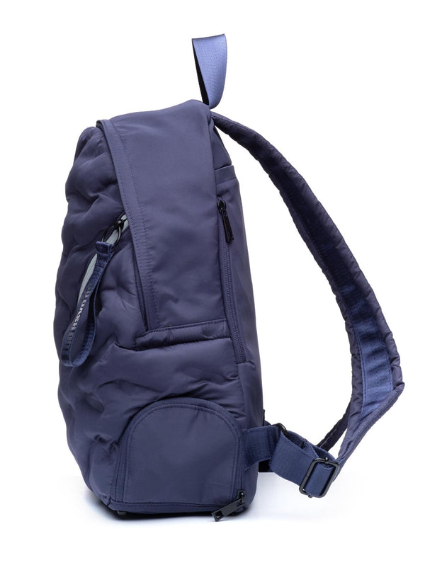 Puffy Navy Blue Round Backpack - Side View