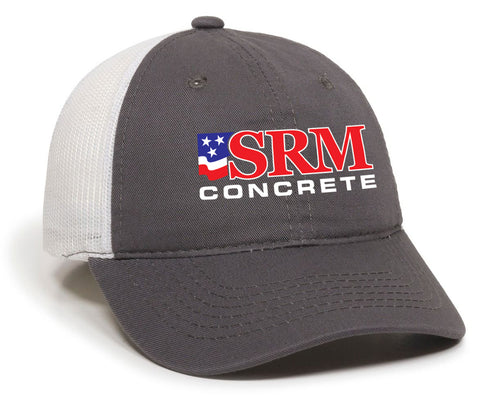 Gray/White Unstructured Mesh Back Cap
