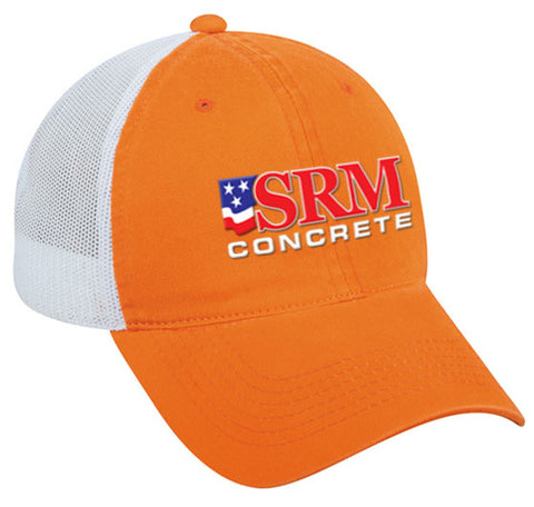 Orange/White Mesh Back Cap With Washed Cotton Twill Front Panels