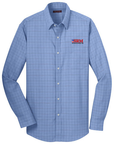 Men's Blue Windowpane Plaid Non-Iron Shirt