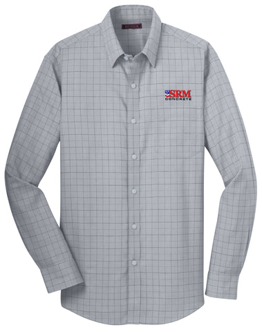 Men's Gray Windowpane Plaid Non-Iron Shirt