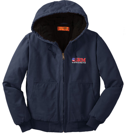 Navy Washed Duck Cloth Insulated Hooded Work Jacket