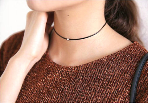 Simple Thin Black Leather Rope Choker Necklaces
