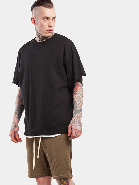 Line Oversized Hip Hop Style Loose Sleeve Patchwork T-Shirts