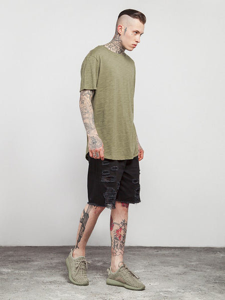 Men's Solid Extended Elongated Plain T Shirt Bamboo Cotton