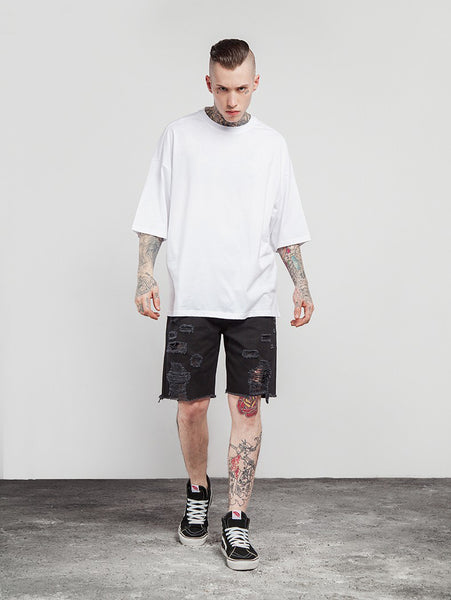 Casual Solid Elbow Length Oversize T-Shirts