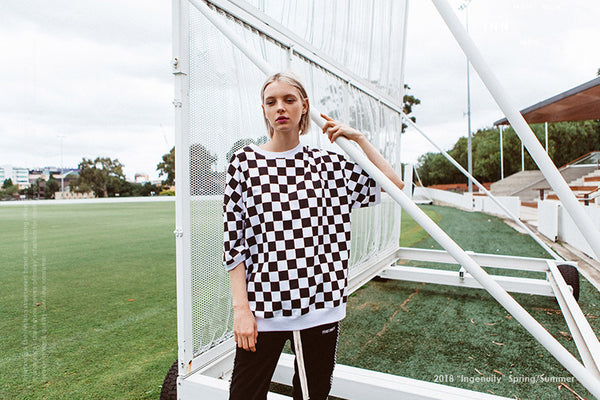 Black White Plaid Short Sleeve T-shirts