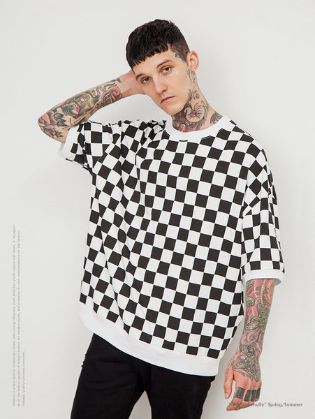 Black White Plaid Men Short Sleeve T-shirts