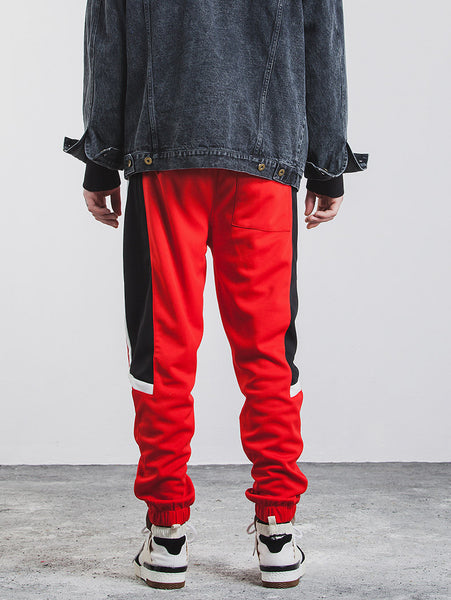 Found Split Side Stripe  Embroidery Contrast Color Sweatpants
