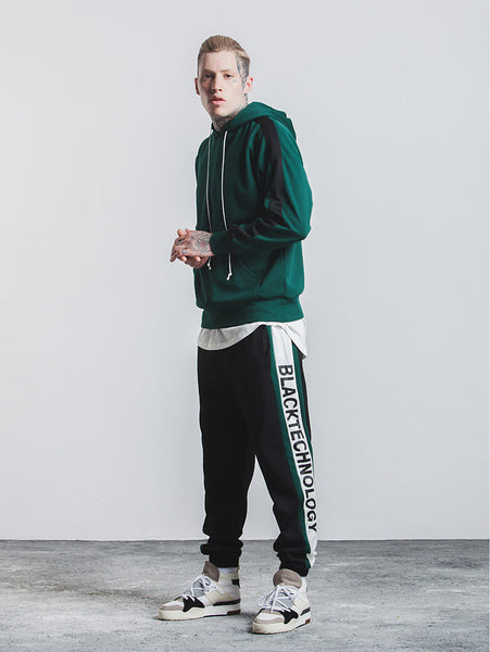 BLACK TECHNOLOGY Side Stripe Elastic Waist Vintage Sweatpants
