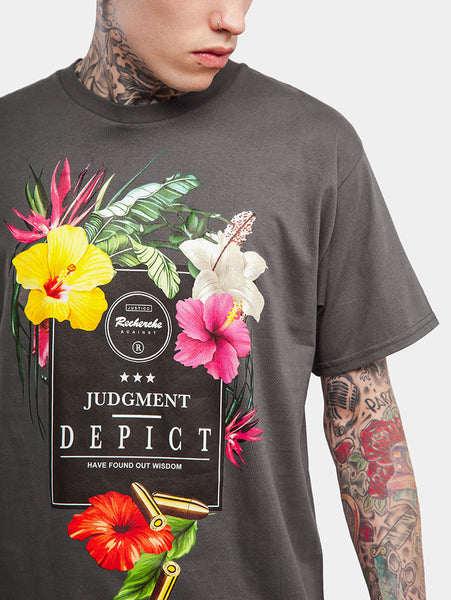 FLOWER & JUDGMENT DEPICT Printed High Street T-Shirt