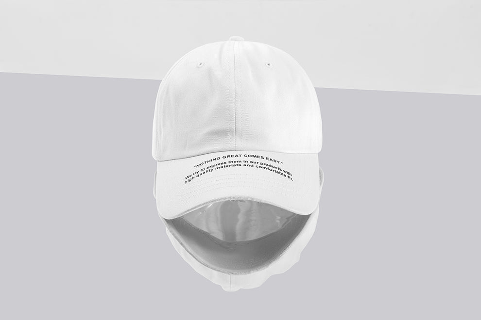 Nothing great comes easy Baseball Cap (ฺWhite) - simplifybox