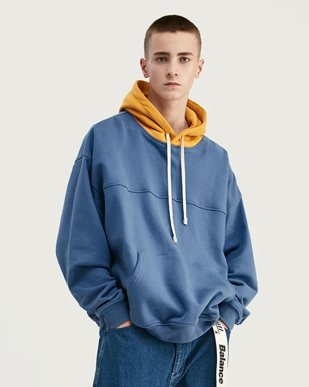 Color-block Design  Drawstring Hoodie - simplifybox