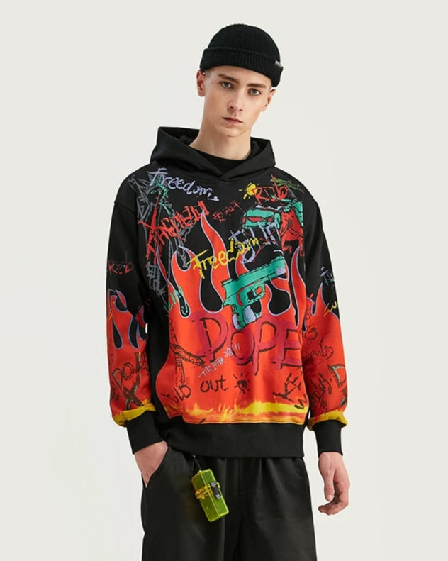 Freedom With Graffiti Graphic Print Oversized Men Hoodies - simplifybox