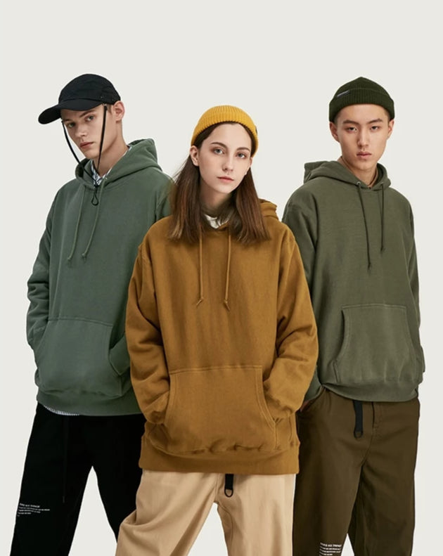 Solid Color Dropped Shoulders Hoodies - simplifybox