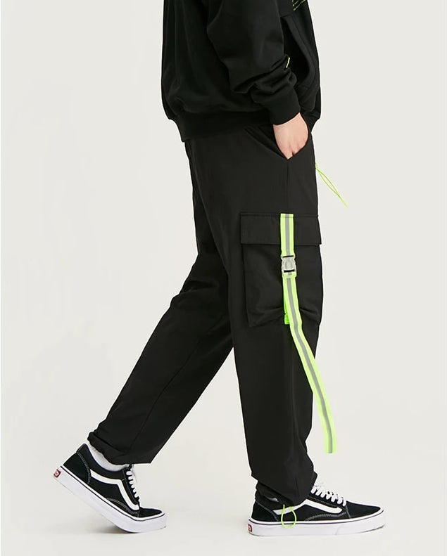 Black Fluorescent Green Tape Jogger Pant - simplifybox
