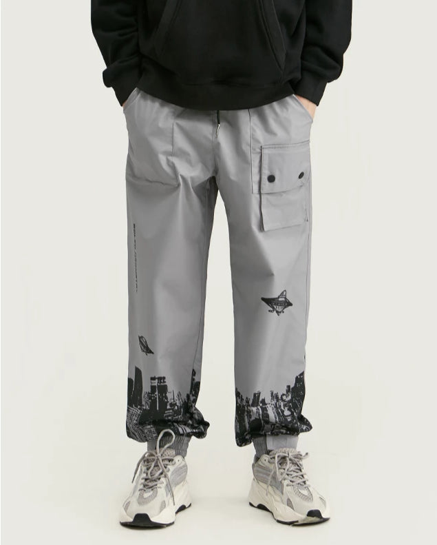 Solid Geometry Digital Print Sweatpants - simplifybox