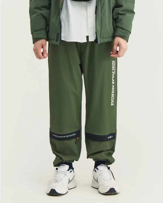Non-Polar Molecule Zipper Patch Sweatpants - simplifybox