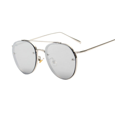 Round Double Beam Clear lens Vintage Sunglasses - simplifybox
